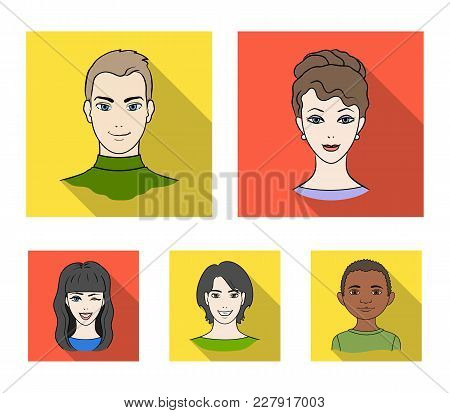 Different Looks Of Young People.avatar And Face Set Collection Icons In Flat Style Vector Symbol Sto