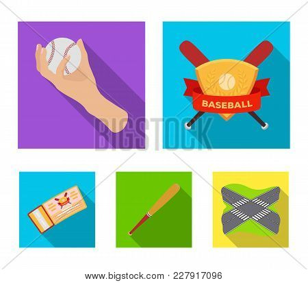 Club Emblem, Bat, Ball In Hand, Ticket To Match. Baseball Set Collection Icons In Flat Style Vector