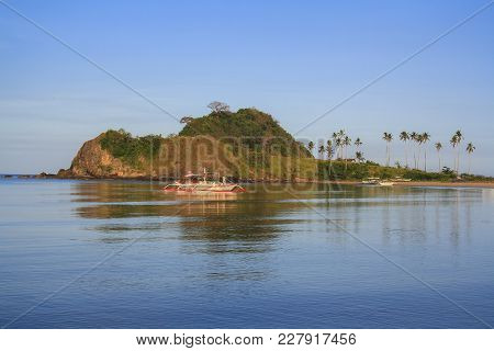 Landscape Of The Beach Of Nagpan. The Island Of Palawan. Philippines.