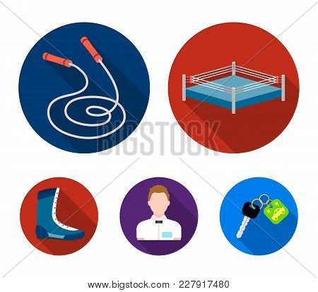Ring, Rope, Referee, Sneakers .boxing Set Collection Icons In Flat Style Vector Symbol Stock Illustr