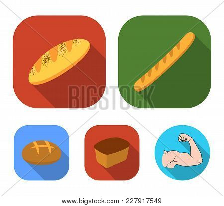 Rye Bread, French Loaf, Round, Cut Loaf.bread Set Collection Icons In Flat Style Vector Symbol Stock