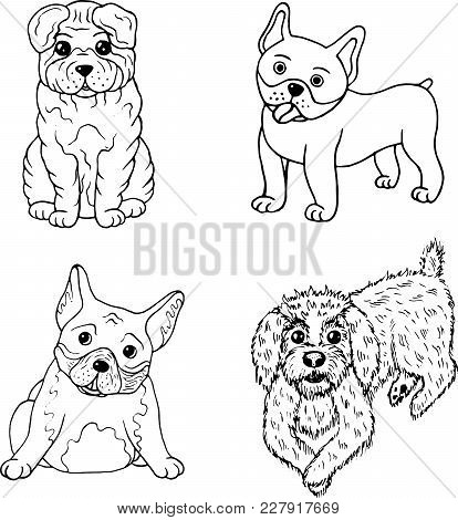 Cartoon Dogs Coloring Page. Isolated Set Collection With Doodle Pets. Vector Illustration.