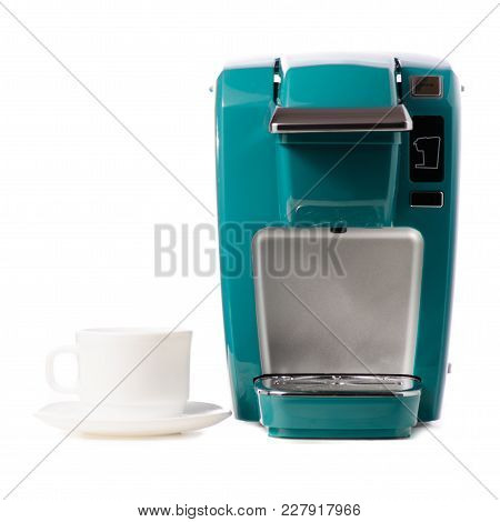 Capsular Electric Coffee Machine Cup On White Background Isolation