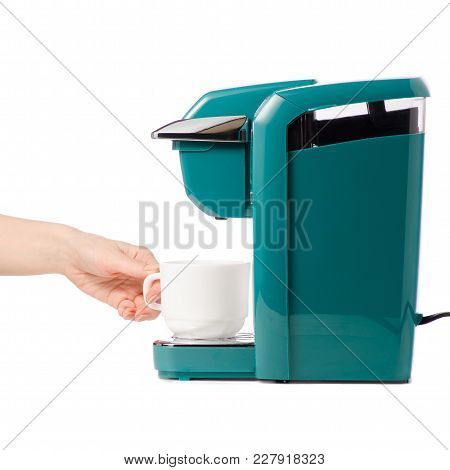 Capsular Electric Coffee Machine Cup In Hand On White Background Isolation