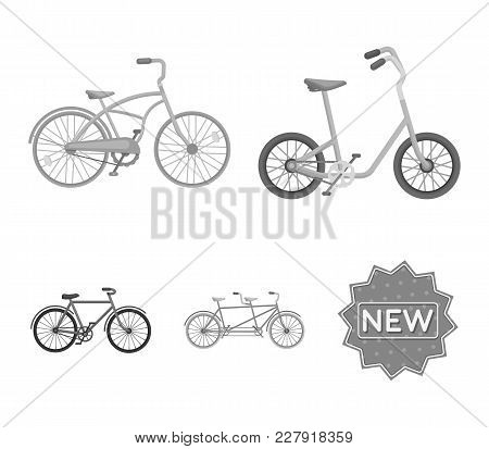 Children's Bicycle, A Double Tandem And Other Types.different Bicycles Set Collection Icons In Monoc