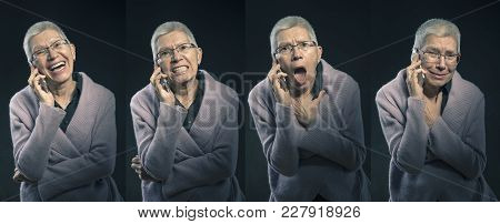 Collage Of Emotions, Senior Elderly Lady With Different Expressions - Happiness, Anger, Sadness And