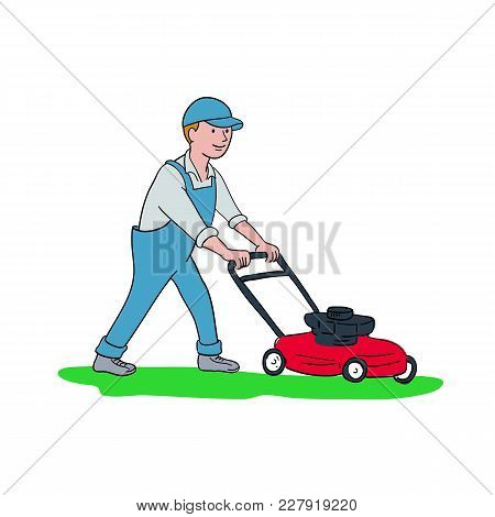 Cartoon Style Illustration Of A Gardener Mowing Lawn With Lawnmower Or Lawn Mower Viewed From Side O