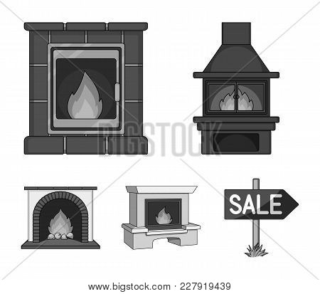Fire, Warmth And Comfort. Fireplace Set Collection Icons In Monochrome Style Vector Symbol Stock Ill