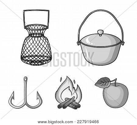 Catch, Hook, Mesh, Caster .fishing Set Collection Icons In Monochrome Style Vector Symbol Stock Illu