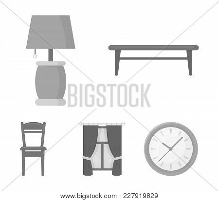 A Coffee Table, A Lamp, Curtains, A Chair.furniture Set Collection Icons In Monochrome Style Vector