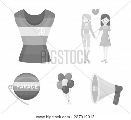 Lesbians, Dress, Balls, Gay Parade. Gay Set Collection Icons In Monochrome Style Vector Symbol Stock