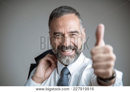 Senior Business Man Approving, Giving A Thumb Up, Giving You Full Support