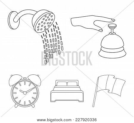 Call At The Reception, Alarm Clock, Bed, Shower.hotel Set Collection Icons In Outline Style Vector S
