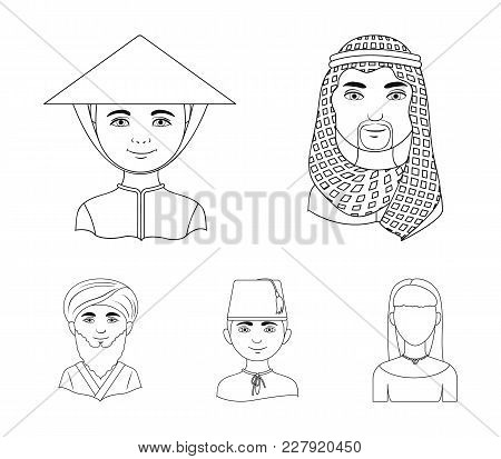 Arab, Turks, Vietnamese, Middle Asia Man. Human Race Set Collection Icons In Outline Style Vector Sy