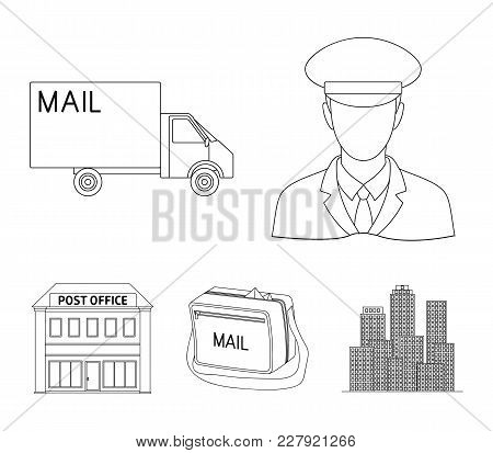 The Postman In Uniform, Mail Machine, Bag For Correspondence, Postal Office.mail And Postman Set Col