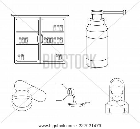 Inhaler, Medical Cabinet, Tablets, Syrup In A Spoon.mtdicine Set Collection Icons In Outline Style V