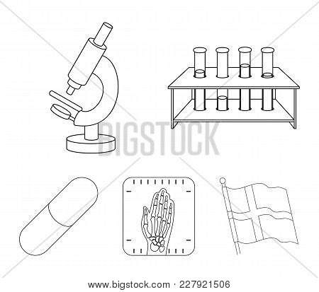 Test Tubes On A Stand, Microscope, X-ray Hands, Bio-pill. Medicine Set Collection Icons In Outline S