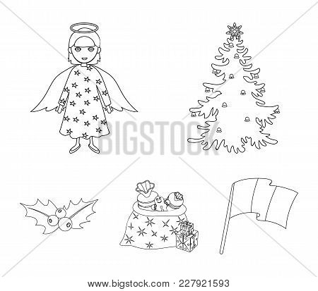 Christmas Tree, Angel, Gifts And Holly Outline Icons In Set Collection For Design. Christmas Vector