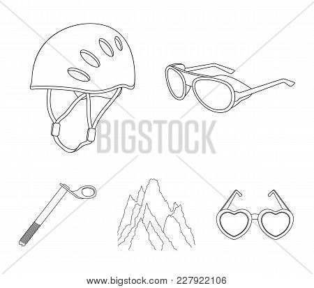 Helmet, Goggles, Wedge Safety, Peaks In The Clouds.mountaineering Set Collection Icons In Outline St