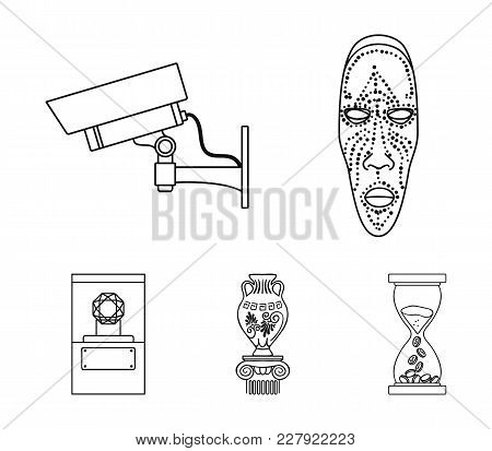 African Mask, Video Surveillance, Vase, Diamond Under The Dome. Museum Set Collection Icons In Outli