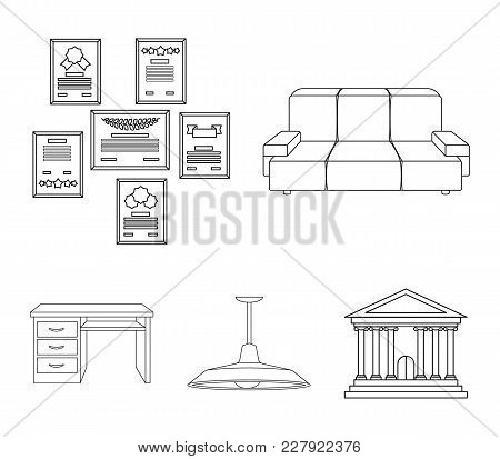 Comfortable Sofa, Letters And Diplomas Within The Framework, An Office Ceiling Lamp, A Desk With Dra