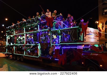 Festival Of Lights Parade, Petoskey Steel Drum Band Bus On Michigan Avenue, Chicago, Il November 18t