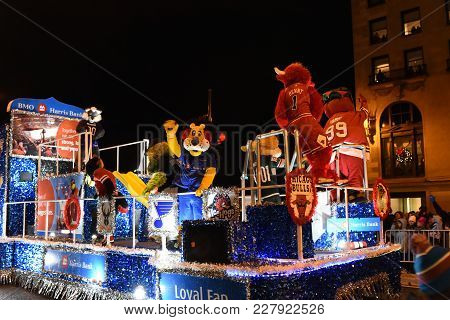 Festival Of Lights Parade, Chicago Area Mascots Including Benny The Bull, Southpaw And Tomahawk On P