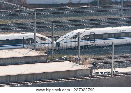 Chengdu, China - Feb 19, 2018 : Chinese High Speed Train Arriving In Chengdu South Station