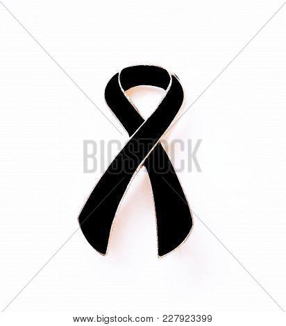 Black Ribbon. Melanoma Awareness. Mourning Or Sadness Symbol.