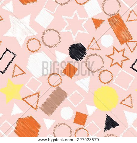 Abstract Colored Seamless Background Of Circles, Squares, Stars And Rectangles. Multicolored Doodles