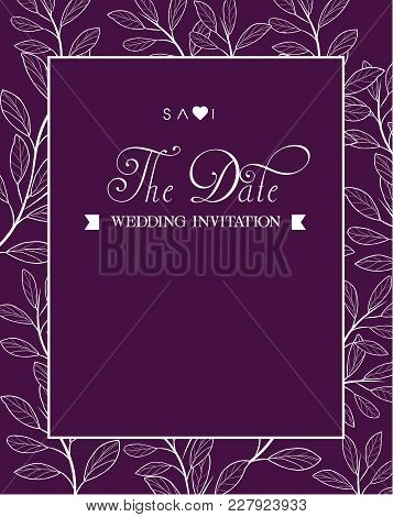 Save The Date Wedding Invitation Retro Black Background Vector Image