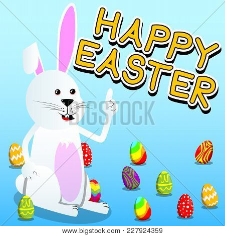 Easter Bunny Making A Point. Vector Cartoon Character Illustration.