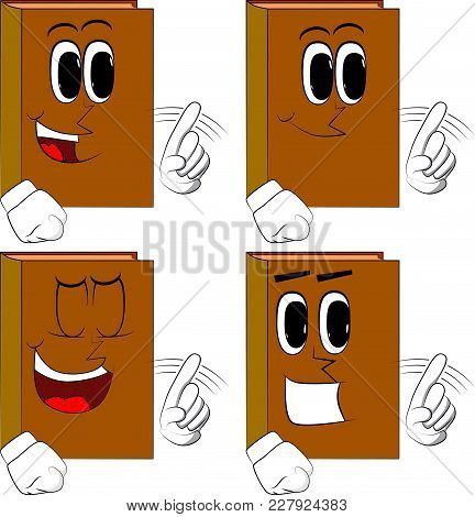 Books Saying No With His Finger. Cartoon Book Collection With Happy Faces. Expressions Vector Set.