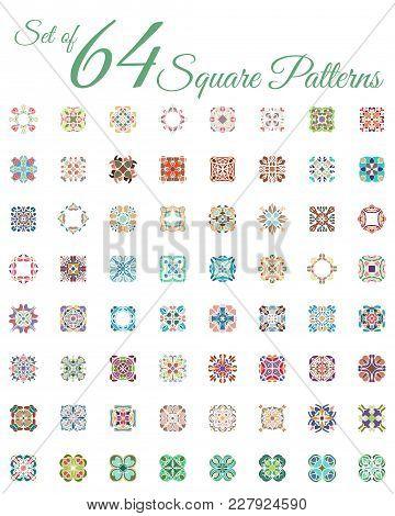 Set Of 64 Vintage Ornamental Square Logo. Colorful Symmetry Ceramic Tile Pattern. Business Style. He