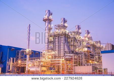 Twilight Photo Of Power Plant,natural Gas Combined Cycle Power Plant