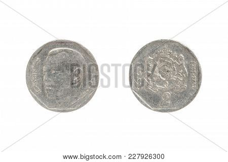 Two Moroccan Dirham Coin Isolated On White Background