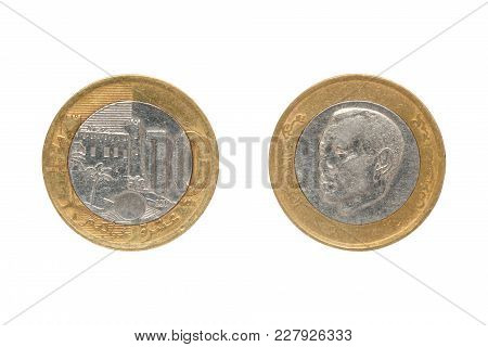 Ten Moroccan Dirham Coin Isolated On White Background