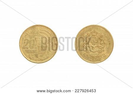 Twenty Moroccan Santimat Coin Isolated On White Background