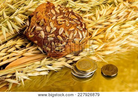 Fresh White Bread And Coins