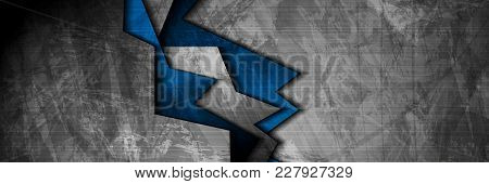 Grunge Tech Material Contrast Blue And Dark Grey Corporate Texture Banner. Vector Illustration Backg
