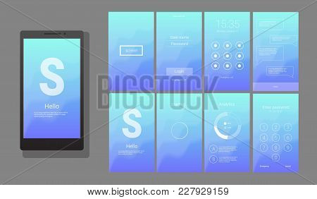 Modern Ui, Gui Screen Vector Design For Mobile App With Ux And Flat Web Icons. Wireframe Kit For Loc