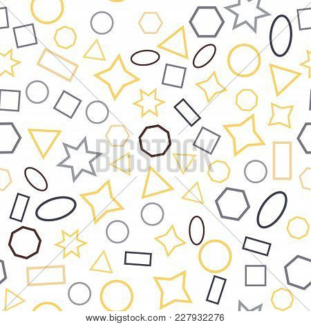 Abstract Colored Seamless Background Of Circles, Squares, Triangles, Stars And Rectangles. Multicolo