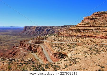 Moki Dugway Road Leads Out Of The Valley Of The Gods To Muley Point Which Overlooks Monument Valley,