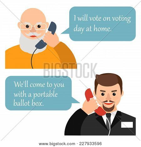 The Old (elderly) Person Calls On The Phone Members Of The Election Commission To Vote At Home. Vect