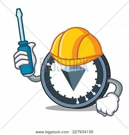 Automotive Kucoin Shares Mascot Cartoon Vector Illustration