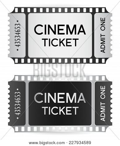 Cinema Ticket, Token Template (tear-off Ticket Film Strip) Isolated On White Background. Useful For