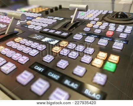 Video Switcher Of Television Broadcast With Blurry Background