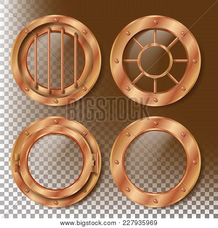 Porthole Vector. Round Brass, Bronze, Copper Window With Rivets. Bathyscaphe Ship Metal Frame Design