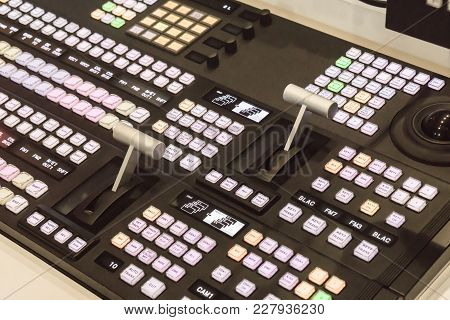 Video Switcher Of Television Broadcast With Blurry Background, Working With Video And Audio Mixer, C