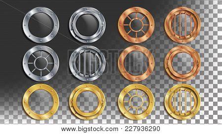 Portholes Set Vector. Round Metal Window With Rivets. Bathyscaphe Ship Frame Design Element, Rocket,